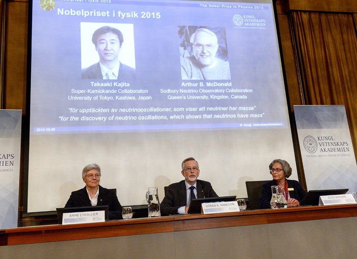 Στους Τακαάκι Καγίτα και Άρθουρ ΜακΝτόναλντ το Νόμπελ Φυσικής 2015