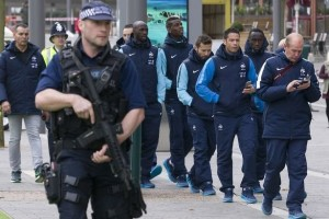 players-and-staff-of-the-france-football-team-go-for-a-morning-walk-about-escorted-by-british-armed-police-around