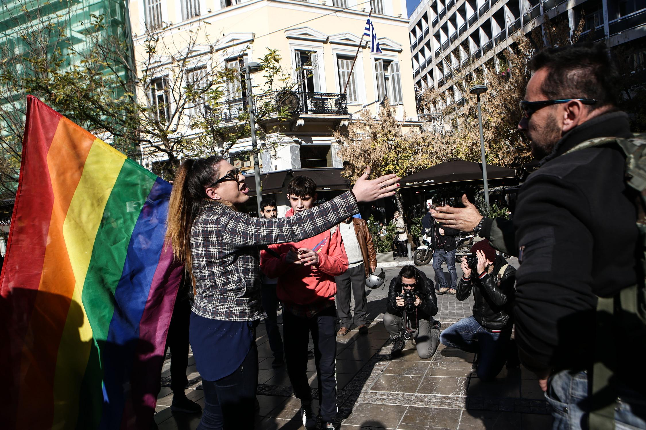 Demonstration by the LGBTQI activist team Queerborg outside the Cathedral of Athens, in Athens, on Dec. 22, 2015 / Διαμαρτυρία της ΛΟΑΤΚΙ ομάδας Queerborg έξω απο τη Μητρόπολη Αθηνών, στην Αθήνα, στις 22 Δεκεμβρίου, 2015