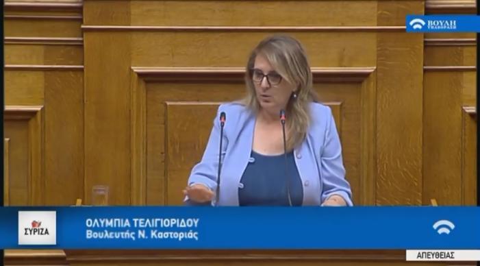 Ομιλία Ολυμπίας Τελιγιορίδου στη Βουλή για την πρόταση δυσπιστίας
