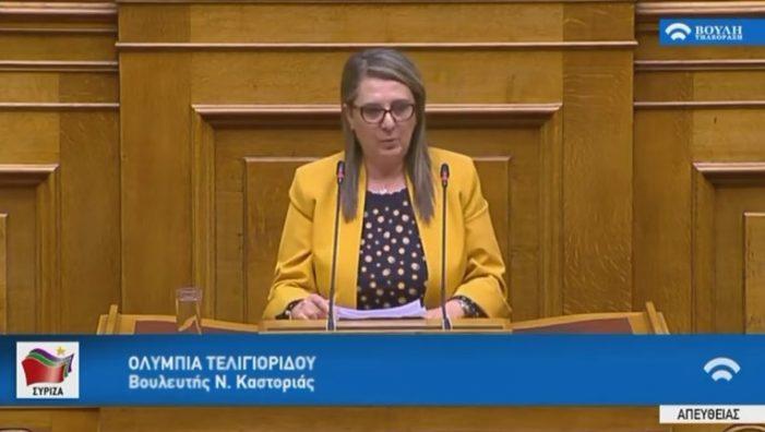 Στην Βουλή η Ο. Τελιγιορίδου για την τροπολογία Αυγενάκη και κοινωνικό κράτος
