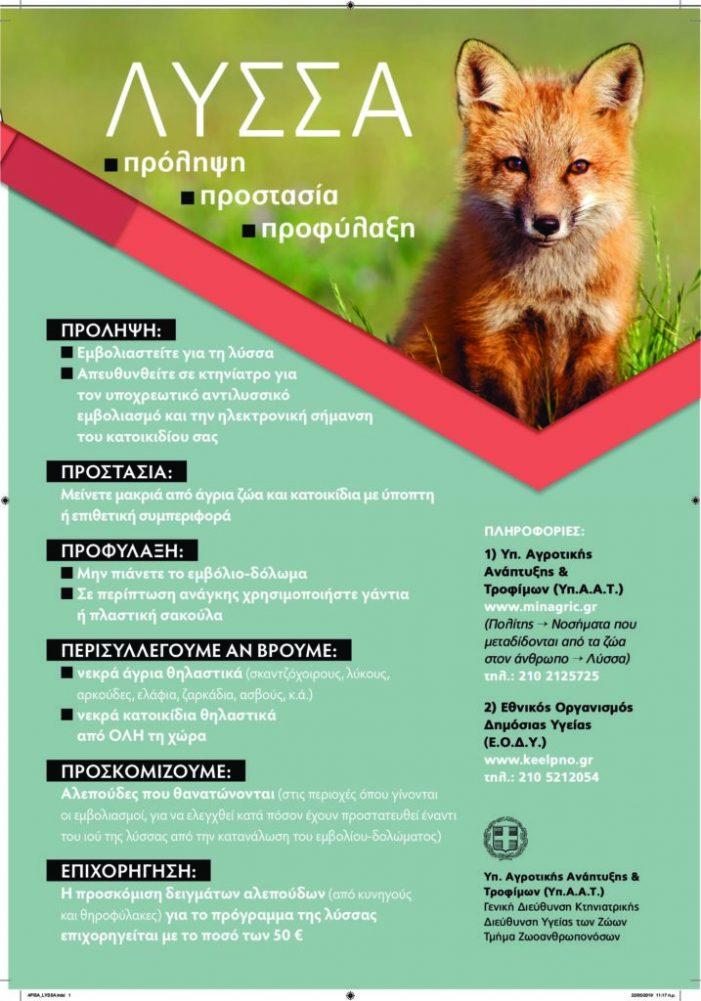 Έναρξη του προγράμματος εμβολιασμών της άγριας πανίδας για προστασία έναντι του ιού της λύσσας