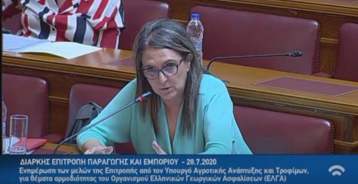 Τοποθέτηση Ολυμπίας Τελιγιορίδου στην Επιτροπή Παραγωγής και Εμπορίου για θέματα του ΕΛΓΑ