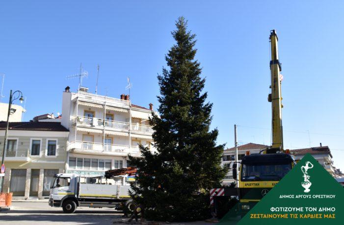 Στήθηκε το Χριστουγεννιάτικο δέντρο στο Άργος Ορεστικό